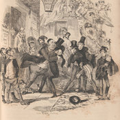 Illustration showing Mr Crummles embracing Nicholas in a crowded street