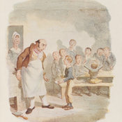Reproduction of Cruikshank's watercolour depicting Oliver asking the master for more gruel