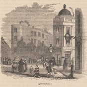 Wood engraving depicting a street scene in a poor part of London called Seven Dials