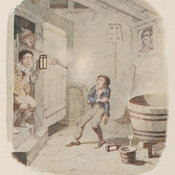 Reproduction of Cruikshank's watercolour depicting the scene in which Oliver Twist is shot in the arm during an attempted burglary
