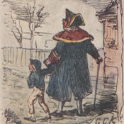 Reproduction of Cruikshank's illustration depicting the Beadle leading Oliver Twist by the hand