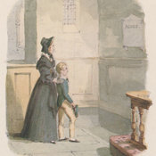 Reproduction of Cruikshank's watercolour depicting Oliver and Rose standing in an old church before a white marble wall plaque bearing the name Agnes