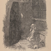 John Leech's illustration depicting Scrooge kneeling before a grave stone bearing his own name. The black ghost points downward to the grave.