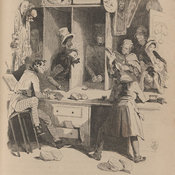 Engraving of the interior of the pawnbroker's shop