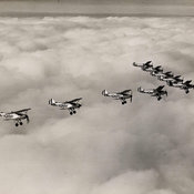 Photograph of aerial formation from the papers of Gp Capt Eric Alfred Douglas-Jones showing planes in a V shaped formation
