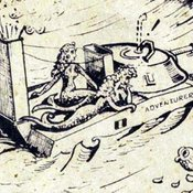 "Image from cover of ""History of the waterproofing of A and B vehicles and equipment"" by Brig HR Howard"", a whimsical drawing showing the vehicle being operated by mermaids"