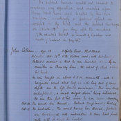 Notes from Lister's casebook written by hand. One entry is for a patient John Collins, age 13, who was brought into hospital on 12 October with a head injury. The notes record that he was knocked down by an omnibus on Chancery Lane