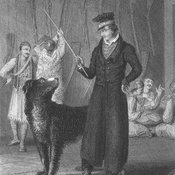 Engraved frontispiece portrait depicting Byron in Missolonghi with his second Newfoundland dog, Lyon.