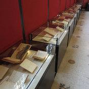 A view of the nine exhibition cases in the Weston Room.