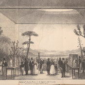 Lithograph depicting the exhibition hall with various groups of figures in contemporary dress looking at the exhibits.