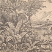 Wood-engraving depicting lush foliage and trees in the foreground with a shore and mountains in the background.