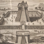 Engraving depicting the grand temple of Mexico, with a human sacrifice taking place in the centre.