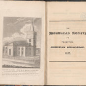 Engraved frontispiece plate depicting the church (now cathedral) of St John in Belize. Also showing title page on right.