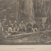Lithograph depicting a group of men seated along logs in a forest holding tin bowls and cups.
