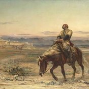 Painting of William Brydon approaching the fortress of Jalalabad on horseback.