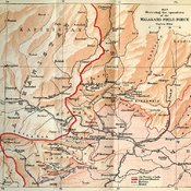 Map 'illustrating the operations of the Malakand Field Force showing Afghanistan on the upper left and Punjab on the lower right, with a thin red line demarking the old frontier of India and a thicker red line showing the advanced frontier
