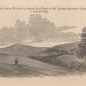 Wood engraving of farm depicting a man in the middleground laying out short pipes.