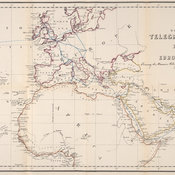 Map showing the telegraph routes from England for uniting Europe with India.