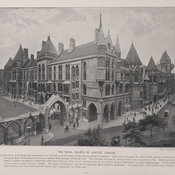 Photographic illustration of the exterior of the Royal Courts of Justice, London at the end of the 19th century.