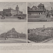 Photographic illustrations of the exteriors of various law courts in India, Guyana, Australia and Canada at the end of the 19th century.