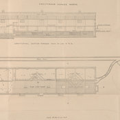 Elevation, transverse section and plan of sewage works.
