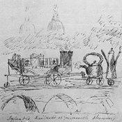 Line drawing of imagined railway carriage with passengers and apparent billowing smokestacks linked to a large tea kettle and coffee pot also on wheels, all on three arches above all this is apparently billowing smoke with two domes (possibly of Greenwich Old Royal Naval College) rising above.