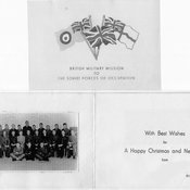 BRIXMIS Christmas card with a picture of the BRIXMIS officers, caption read,'With Best Wishes for a Happy Christmas and New Year