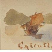 Watercolour of boats at Calcutta