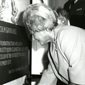 Queen Elizabeth The Queen Mother lays the foundation stone at Malcolm Gavin Hall (1975)