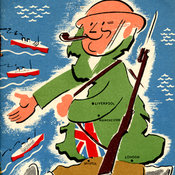 graphic depiction of a soldier striding forward in the shape of the island of Great Britain; wearing a tin helmet, carrying a gun and smoking a pipe with a union flag waistcoat, all in bright colours; the figure likely intended to suggest Winston Churchill welcoming ships coming toward Great Britain from the west with the word 'Welcome!' beneath the figure