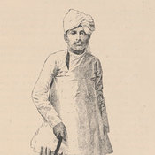 Portrait of an Indian immigrant holding an umbrella