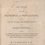 Title page from Malthus' Essay on the principle of population