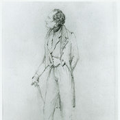 Pencil and watercolour sketch depicting Byron wearing everyday dress and carrying a cane.