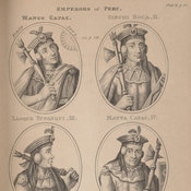 Engraving with six ovals containing portraits of the emperors of Peru.