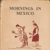 Dust jacket with illustration printed in red depicting a male and female figure dressed in local costumes.