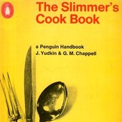 Photograph of cover of The Slimmer's Cookbook by Yudkin showing a set of cutlery tied together by a tape measure