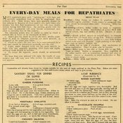 Page of magazine text with advice on eating for veterans and recipes below
