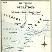 line map of theatre of operations for the Gallipoli campaign with The Aegean sea on the left, the Sea of Marmara on the right and the Dardanelles strait between