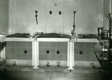 black and white photograph of sterilizers, King's College Hospital, c. 1960
