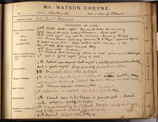 Case notes of Watson Cheyne, 1892. King's College Archives