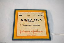 colour photograph of Johnson & Johnson pre-packed oiled silk dressings, c. 1950