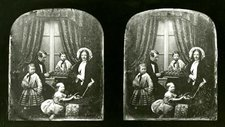 Two photographs of a victorial family placed in front of heavily curtained French windows including Wheatstone, hiw wife andn three children