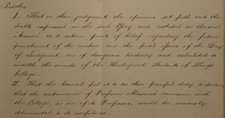 A handwritten extract of the first two council resolutions 27 October 1853 regarding Maurice. These outline that his beliefs 'are of a dangerous tendency' and that the council believes it is their 'painful duty' to declare that Maurice continuing at the college would be 'detrimental to its usefulness