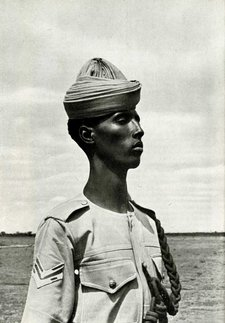 "Image from ""The first to be freed: the record of British military administration in Eritrea and Somalia, 1941-1943"" (HMSO, London) captioned ""SOMALI GENDARME. ""The growth of the Somalia gendarmerie makes one of the most fascinating stories that have come from the occupied territories"""" (Ref: Embleton 2/3/27 p.48)"
