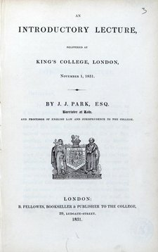 Title page of book An introductory lecture delivered at King's College, London, November 1 1831