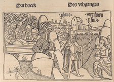 Woodcut illustration of a scene from the Book of Exodus with various characters in contemporary dress