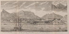 An etching showing a view of a bay with ships in the foreground and mountains on the land in the background
