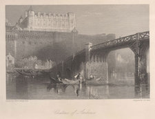 Steel engraving of a view of a château, seen across a river with a bridge