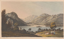 View of Grasmere lake surrounded by hills, with people, animals and a house on the shore in foreground, illustrated using the aquatint technique