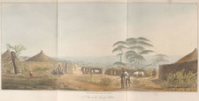 View of an African settlement with trees, foliage, huts and figures. Illustrated using the aquatint technique